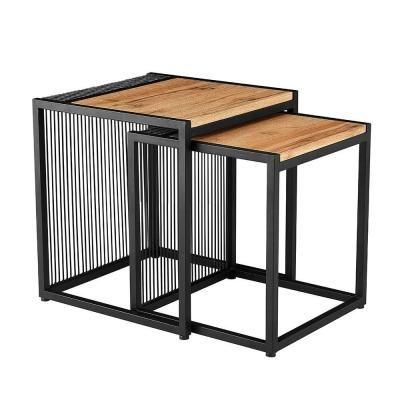 Asztalka szett, acél vázzal, vonal mintával, 2 db, fekete-tölgy - CAGE